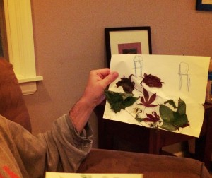 Teddy's gift to Matt (leaf pile on paper)